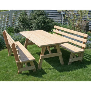 "Creekvine Design Red Cedar Classic Family Picnic Table with (2) Backed Benches Picnic Tables and Benches 27"" W x 4' L / Unfinished"