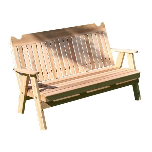 Creekvine Design Red Cedar Straight Back English Garden Bench Garden Benches 4 ft / Unfinished