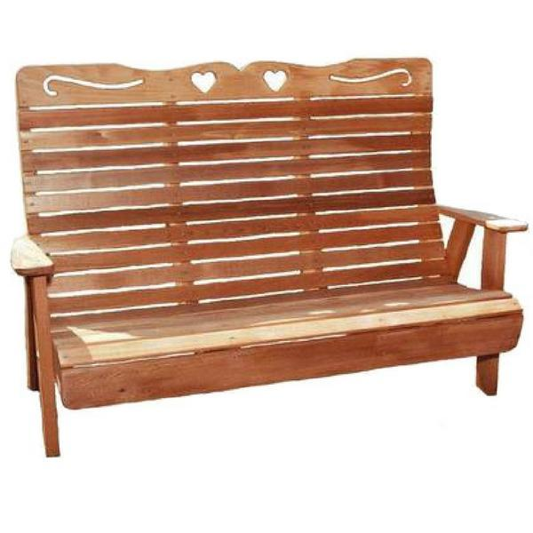 Creekvine Designs Cedar Country Hearts Garden Bench Garden Benches