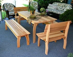 Creekvine Designs Cedar Gathering Kitchen Table Set Dining Table Unfinished / No