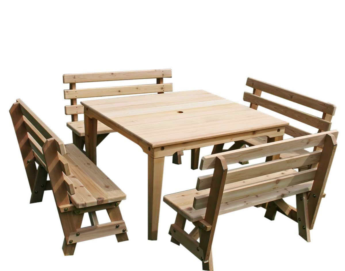 Creekvine Designs Cedar Union Dining Set Dining Table No / Unfinished