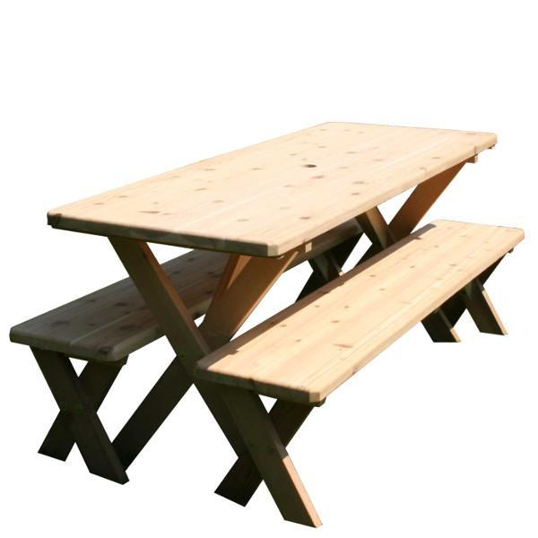 Creekvine Designs Red Cedar Backyard Bash Picnic Table Set Picnic Bench