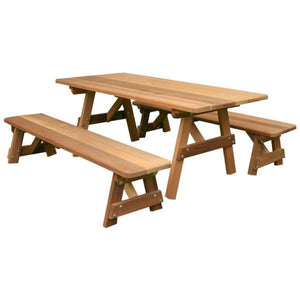 "Creekvine Designs Red Cedar Classic Family Picnic Table with (2) Benches Picnic Tables and Benches 27"" W x 5' L / Unfinished"