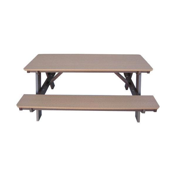 Little Cottage Co. Heritage Picnic Table With Attached Bench Weatheredwood Tudor-Brown