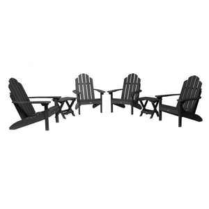 Highwood 4 Classic Westport Adirondack Chairs with 2 Folding Side Tables Furniture Set Black
