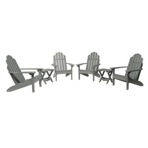 Highwood 4 Classic Westport Adirondack Chairs with 2 Folding Side Tables Furniture Set Coastal Teak