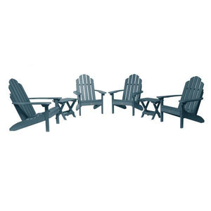Highwood 4 Classic Westport Adirondack Chairs with 2 Folding Side Tables Furniture Set Nantucket Blue