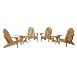 Highwood 4 Classic Westport Adirondack Chairs with 2 Folding Side Tables Furniture Set Toffee