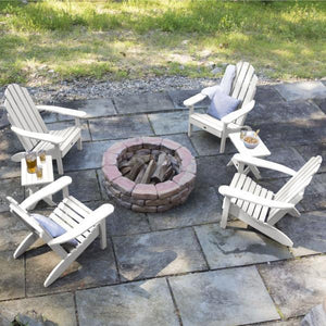 Highwood 4 Classic Westport Adirondack Chairs with 2 Folding Side Tables Furniture Set Weathered Acorn
