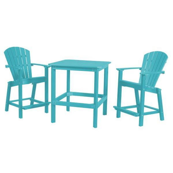"Little Cottage Co. Classic 38"" High Dining Table w/2 (26""High) Dining Chairs Dining Set Aruba Blue"