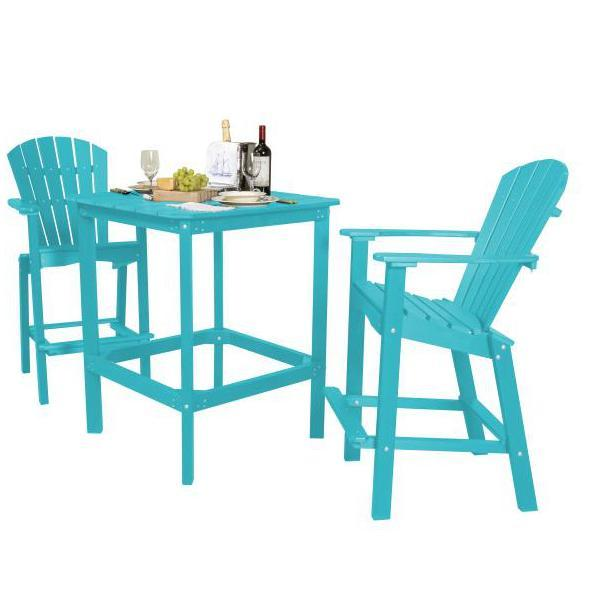 "Little Cottage Co. Classic 42"" High Dining Table with 2 (30"" High) Dining Chairs Dining Set Aruba Blue"