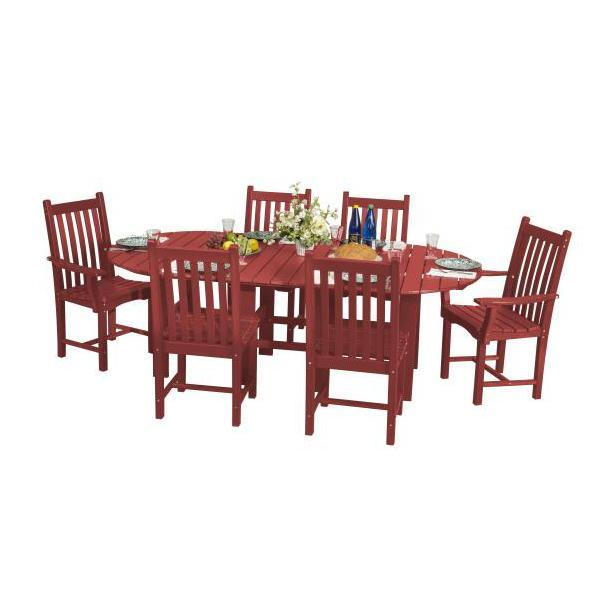 "Little Cottage Co. Classic 44""x84"" Table with 6 Side Chairs Dining Set Cardinal Red"