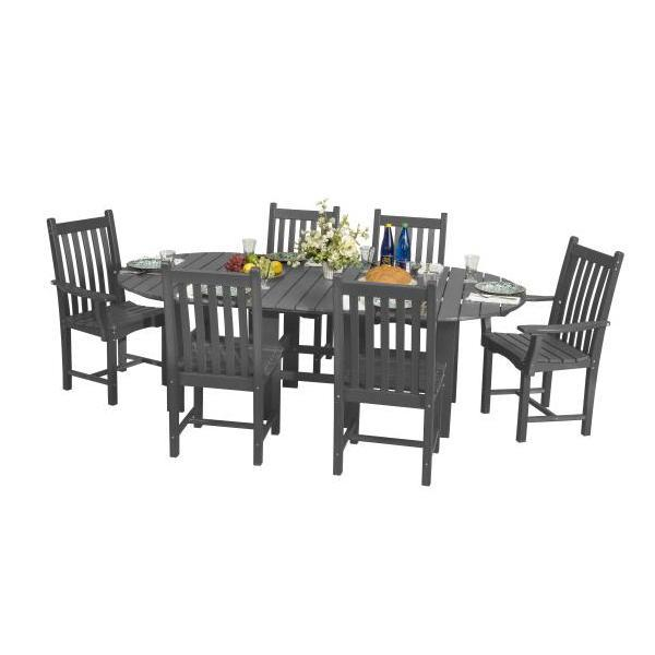 "Little Cottage Co. Classic 44""x84"" Table with 6 Side Chairs Dining Set Dark Grey"