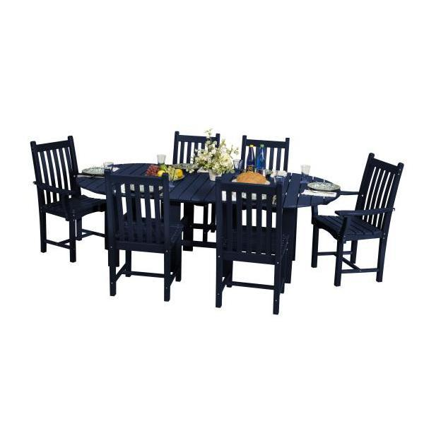 "Little Cottage Co. Classic 44""x84"" Table with 6 Side Chairs Dining Set Patriot Blue"