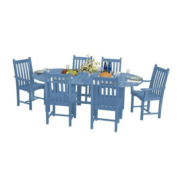 "Little Cottage Co. Classic 44""x84"" Table with 6 Side Chairs Dining Set Powder Blue"