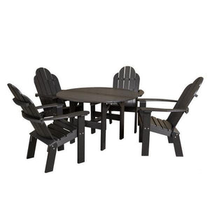 "Little Cottage Co. Classic 46"" Round Table w/4 Dining/Deck Chairs Dining Set Black"