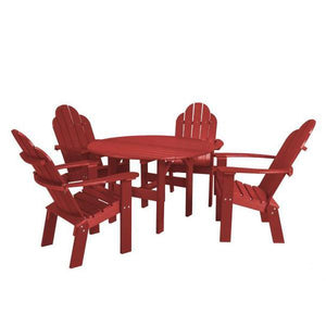 "Little Cottage Co. Classic 46"" Round Table w/4 Dining/Deck Chairs Dining Set Cardinal Red"