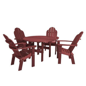 "Little Cottage Co. Classic 46"" Round Table w/4 Dining/Deck Chairs Dining Set Cherry Wood"