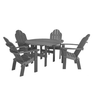 "Little Cottage Co. Classic 46"" Round Table w/4 Dining/Deck Chairs Dining Set Dark Grey"