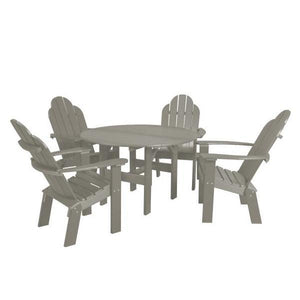 "Little Cottage Co. Classic 46"" Round Table w/4 Dining/Deck Chairs Dining Set Light Grey"