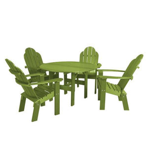 "Little Cottage Co. Classic 46"" Round Table w/4 Dining/Deck Chairs Dining Set Lime"