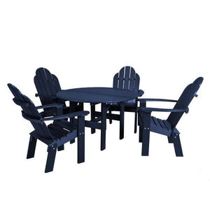 "Little Cottage Co. Classic 46"" Round Table w/4 Dining/Deck Chairs Dining Set Patriot Blue"