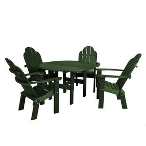 "Little Cottage Co. Classic 46"" Round Table w/4 Dining/Deck Chairs Dining Set Turf Green"