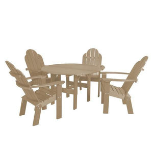 "Little Cottage Co. Classic 46"" Round Table w/4 Dining/Deck Chairs Dining Set Weathered Wood"