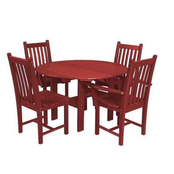 "Little Cottage Co. Classic 46"" Round Table W/4 Side Chairs Dining Set Cardinal Red"