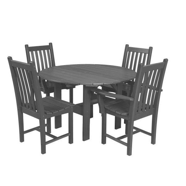 "Little Cottage Co. Classic 46"" Round Table W/4 Side Chairs Dining Set Dark Grey"