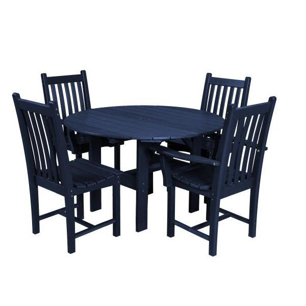 "Little Cottage Co. Classic 46"" Round Table W/4 Side Chairs Dining Set Patriot Blue"