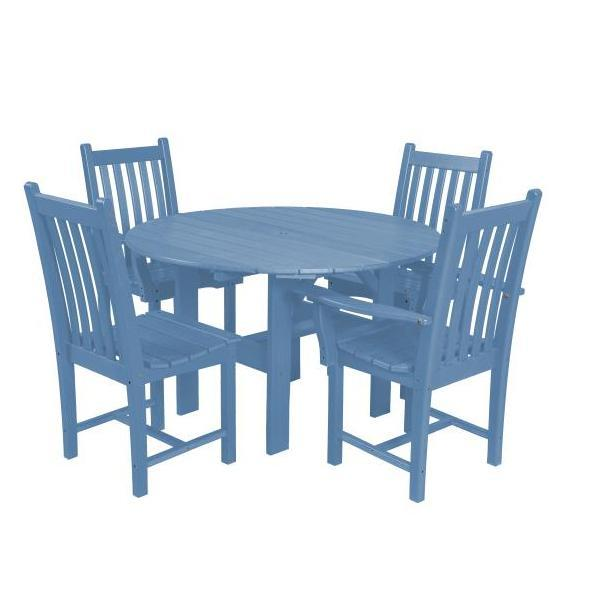 "Little Cottage Co. Classic 46"" Round Table W/4 Side Chairs Dining Set Powder Blue"