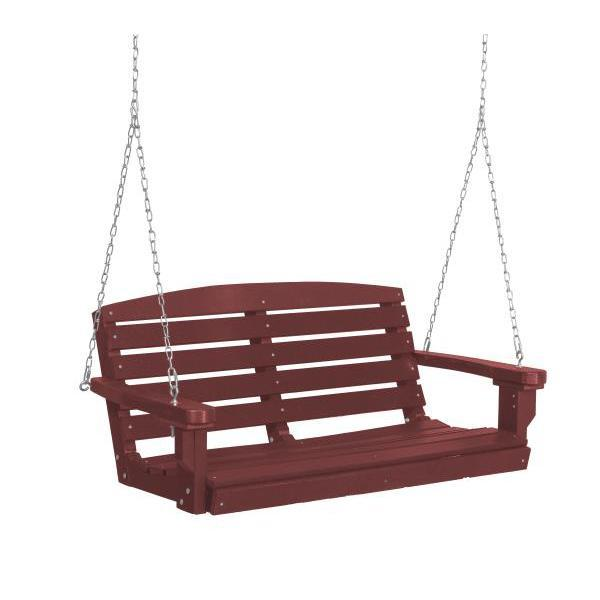 Little Cottage Co. Classic 4ft. Plastic Porch Swing Porch Swings Cherry Wood / No