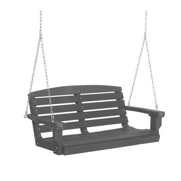 Little Cottage Co. Classic 4ft. Plastic Porch Swing Porch Swings Dark Gray / No
