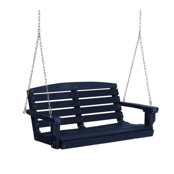 Little Cottage Co. Classic 4ft. Plastic Porch Swing Porch Swings Patriot Blue / No