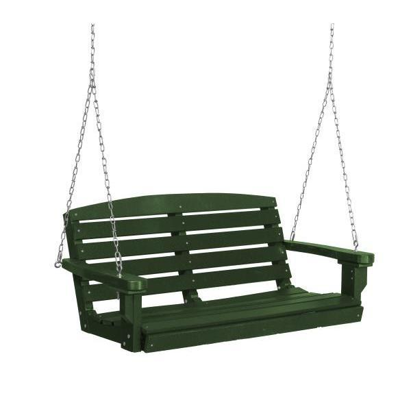 Little Cottage Co. Classic 4ft. Plastic Porch Swing Porch Swings Turf Green / No