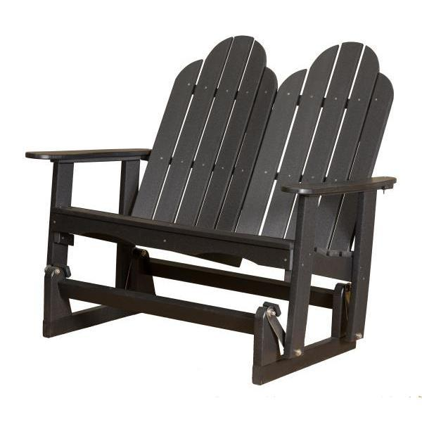 Little Cottage Co. Classic Adirondack 4' Glider Solid Resin Gliders Black