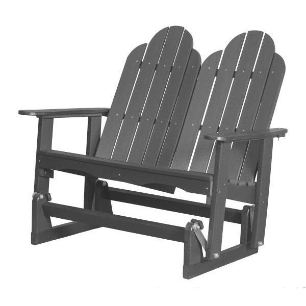 Little Cottage Co. Classic Adirondack 4' Glider Solid Resin Gliders Dark Grey
