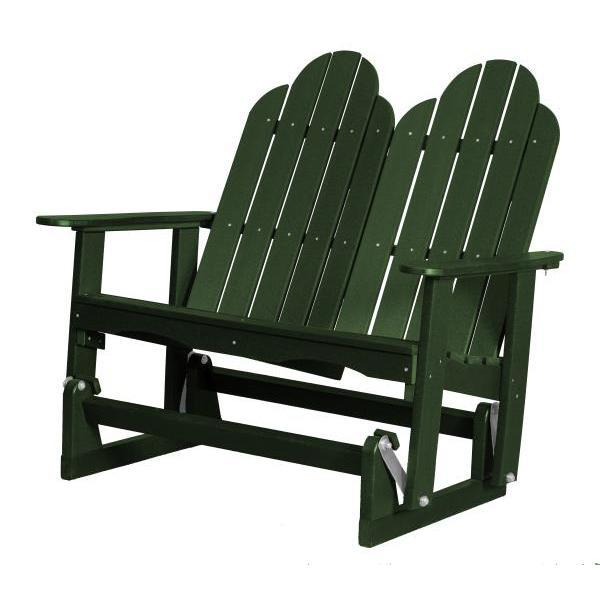 Little Cottage Co. Classic Adirondack 4' Glider Solid Resin Gliders Turf Green