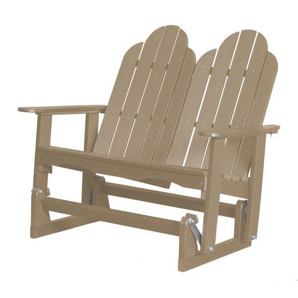 Little Cottage Co. Classic Adirondack 4' Glider Solid Resin Gliders Weathered Wood