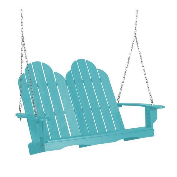 Little Cottage Co. Classic Adirondack Swing Porch Swings Aruba Blue