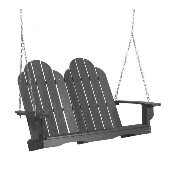 Little Cottage Co. Classic Adirondack Swing Porch Swings Dark Gray