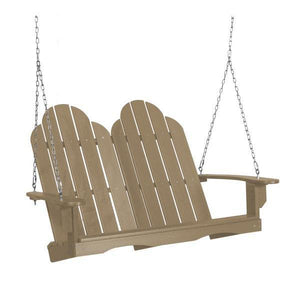Little Cottage Co. Classic Adirondack Swing Porch Swings Weathered Wood