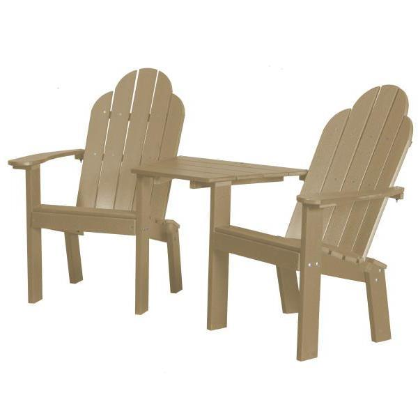Little Cottage Co. Classic Deck Chair Tete-a-Tete Garden Benches Weathered Wood