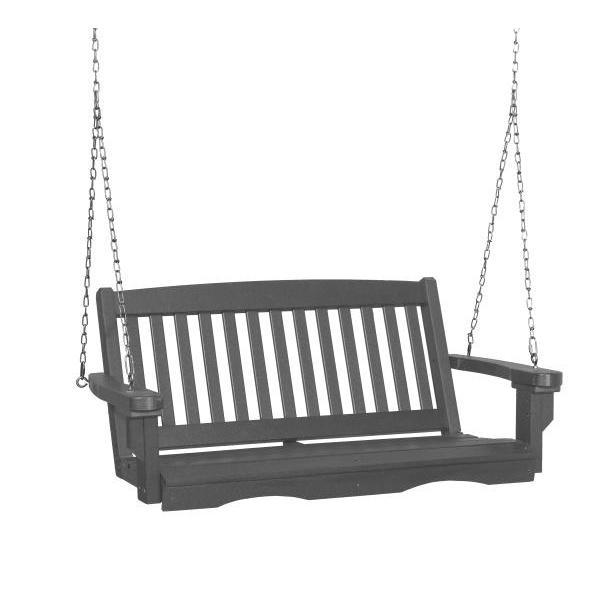Little Cottage Co. Classic Mission 4' Eco Plastic Porch Swing Porch Swings Dark Gray / No