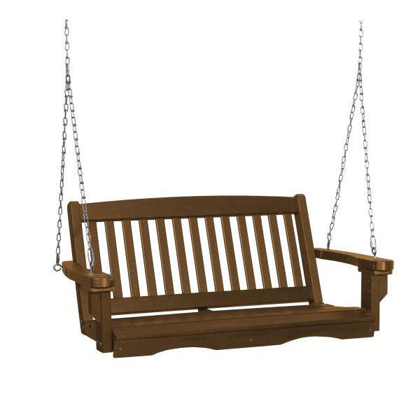 Little Cottage Co. Classic Mission 4' Eco Plastic Porch Swing Porch Swings Tudor Brown / No