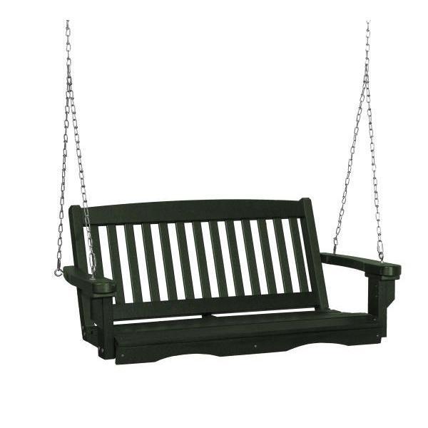 Little Cottage Co. Classic Mission 4' Eco Plastic Porch Swing Porch Swings Turf Green / No