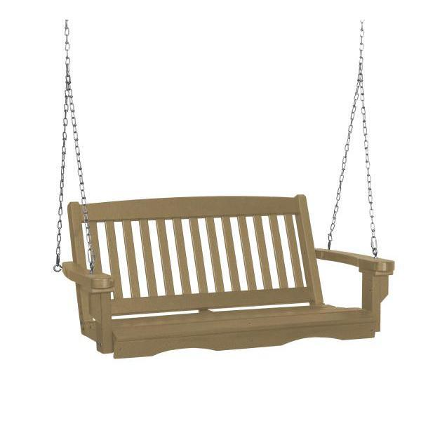 Little Cottage Co. Classic Mission 4' Eco Plastic Porch Swing Porch Swings Weathered Wood / No