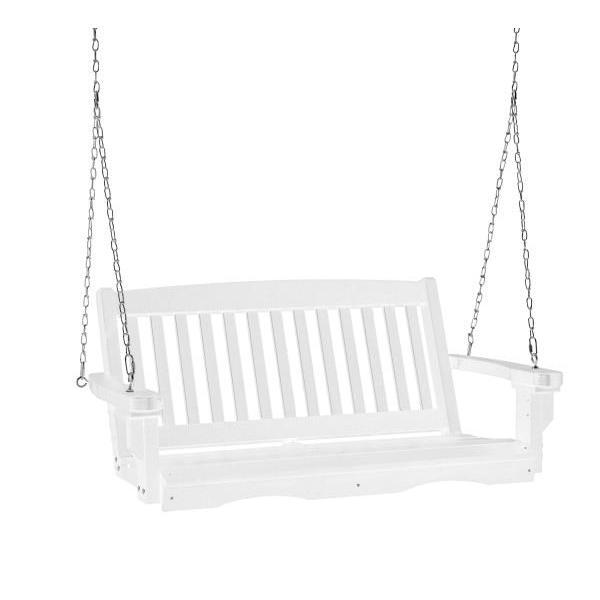 Little Cottage Co. Classic Mission 4' Eco Plastic Porch Swing Porch Swings White / No