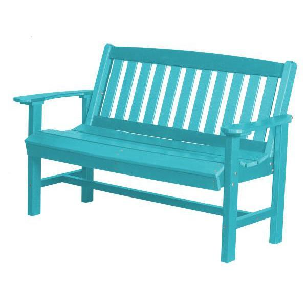 Little Cottage Co. Classic Mission 4ft Recycled Plastic Bench Garden Benches Aruba Blue